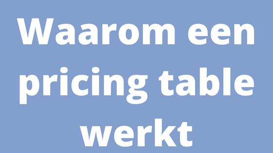 Waarom een Pricing table werkt