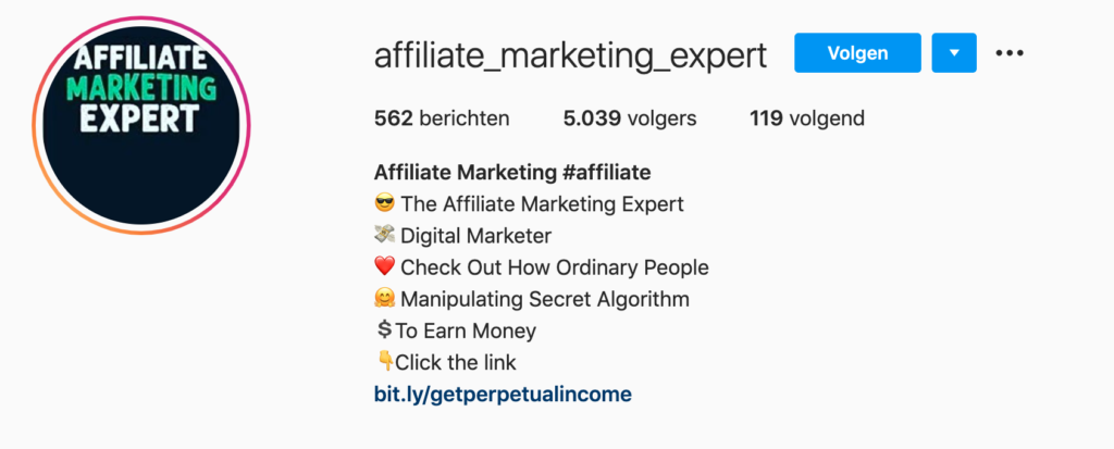 Affiliate marketing link